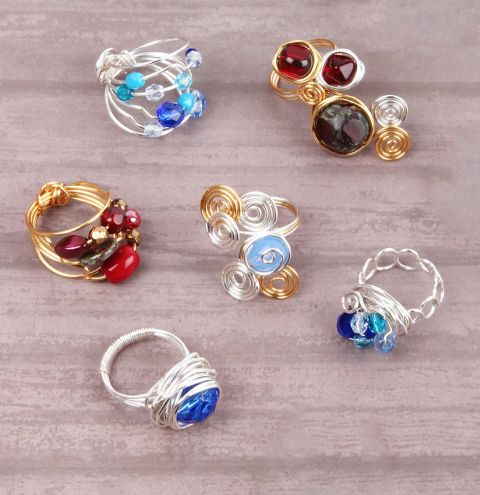 Wire Wrapped Glass Rings