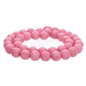 Howlite / faceted round / 10mm / pink / 40pcs