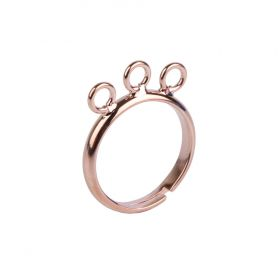 Rose Gold Plated 3 Loop Adjustable Ring Base Pk1