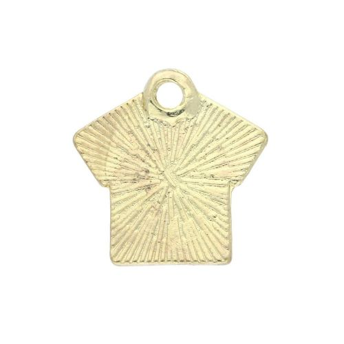 SweetCharm ™ T-shirt with heart / charm pendant / 17x16x1.5mm / gold plated / white / 2pcs