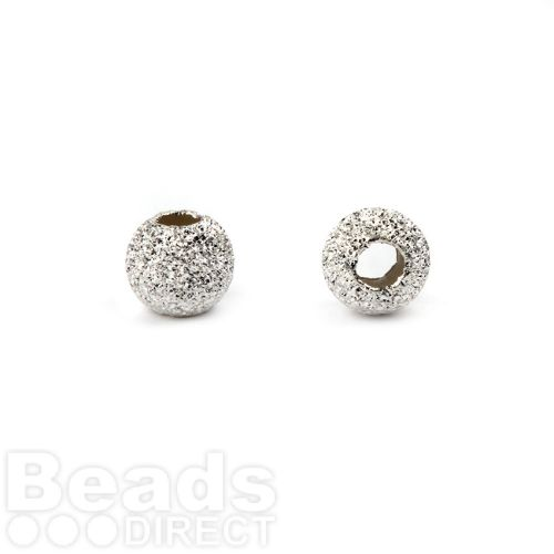 Sterling Silver 925 Frosted Round Beads 5mm Pk10