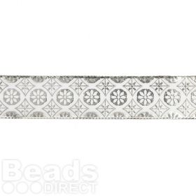 Silver and White Medallion Print Fancy Ribbon 25mm Pre Cut 1m Length