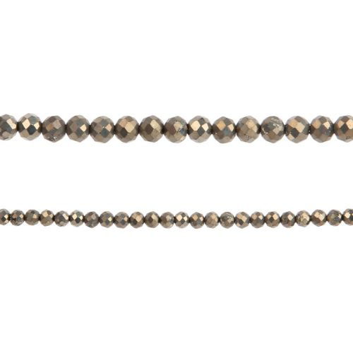 """X- Pyrite Semi Precious Faceted Round Beads 3mm 15"""" Strand"""
