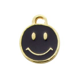SweetCharm ™ Smile / charm pendant / 12x9mm / gold plated / black / hole 1.5mm / 2pcs