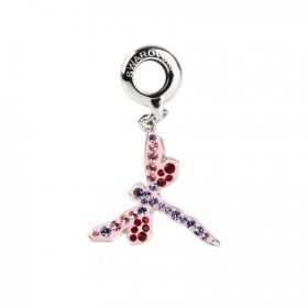 86553 Swarovski Crystal BeCharmed Dragonfly Charm 18mm Tanzanite/Rose Pk1
