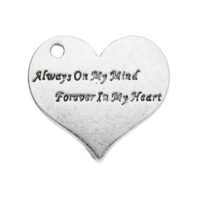 Always On My Mind, Forever In My Heart / pendant / 23x25x1.5mm / silver / 1pcs