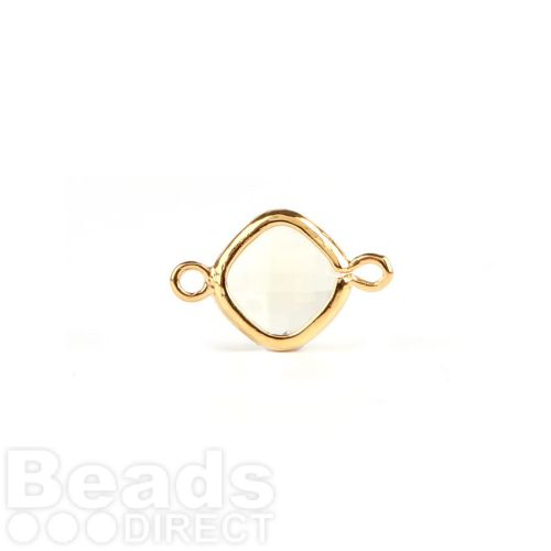 Jonquil Faceted Glass Gold Plated Square Connector Pk1