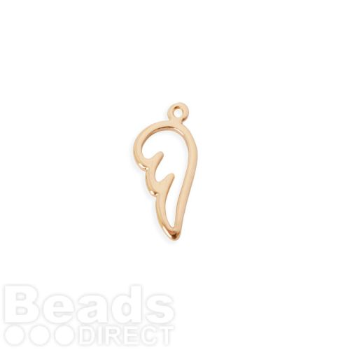 Rose Gold Plated Brass Hollow Angel Wing Charm 7x15mm Pk1