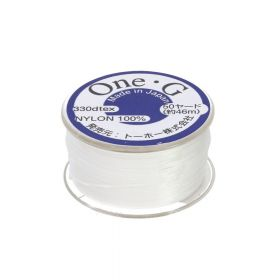 TOHO One-G ™ / nylon thread for beads / White / thickness 0.35mm / 46m