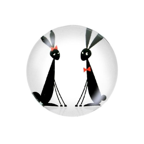 Glass cabochon with graphics K20 PT1477 / black and white / 20mm / 2pcs