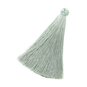 Tassel / viscose thread / 70mm / width 10mm / grey-green / 1pcs