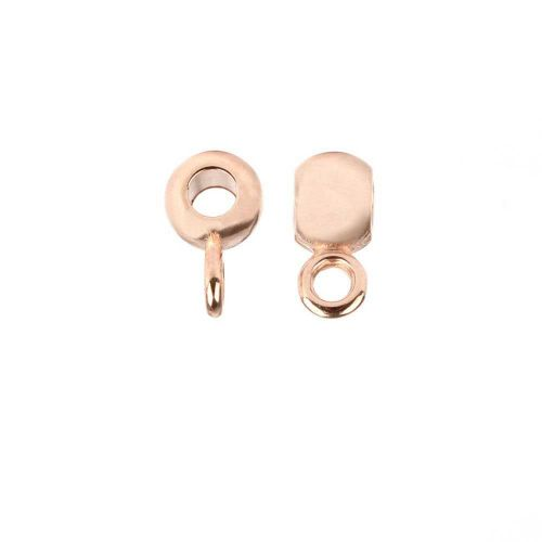 Rose Gold Plated Zamak Round Charm Carrier Bead 4x5mm Pk5