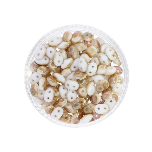 SuperDuo™ / glass beads / 2.5x5mm / Celsian / White / 10g / ~140pcs