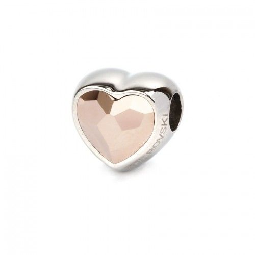 82081 Swarovski Crystal Heart BeCharmed Bead 14mm Rose Gold Pk1