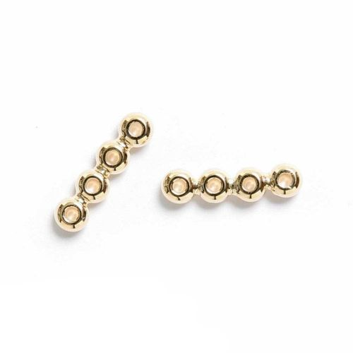 Gold Plated Spacer Bar 16mm 4 hole Pk2
