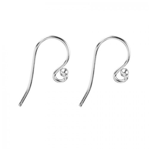Sterling Silver 925 Hook Earrings with Ball 9x18mm 1xPair