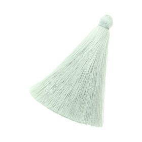 Tassel / viscose thread / 70mm / width 10mm / light green / 1pcs