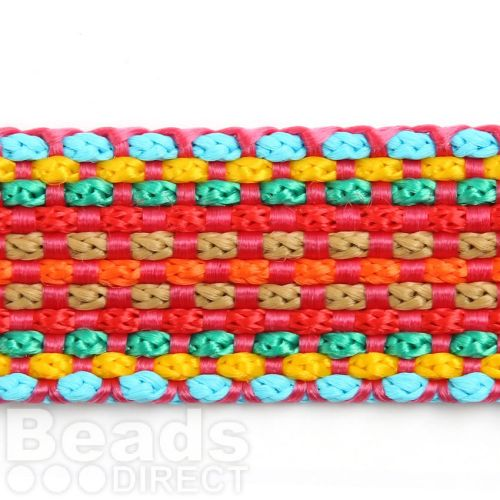 Multi Colour Fuchsia/Blue Flat Knitted Cord 20mm Approx 1m