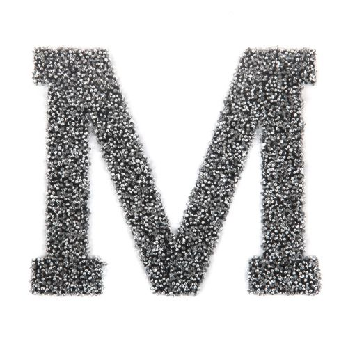Swarovski Crystal Letter 'M' Self-Adhesive Fabric-It Black CAL Pk1