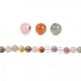 X-Multi Colour Rutilated Quartz Round Beads 10mm Pk10
