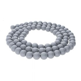 Milly™ / satin round / 8mm / grey / 100pcs