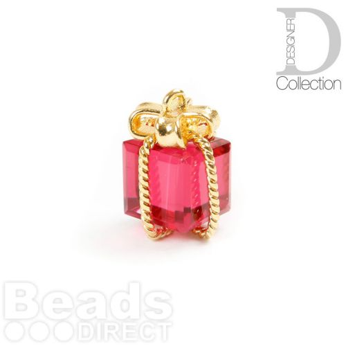 X-Gold Plated Brass Parcel Charm with Ruby Crystal 10x15mm Pk1