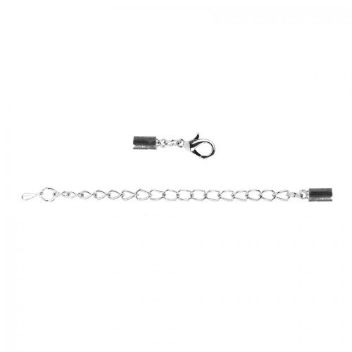 Silver Tone End Caps with Clasp and Extension Chain For 3mm Cord Pk10