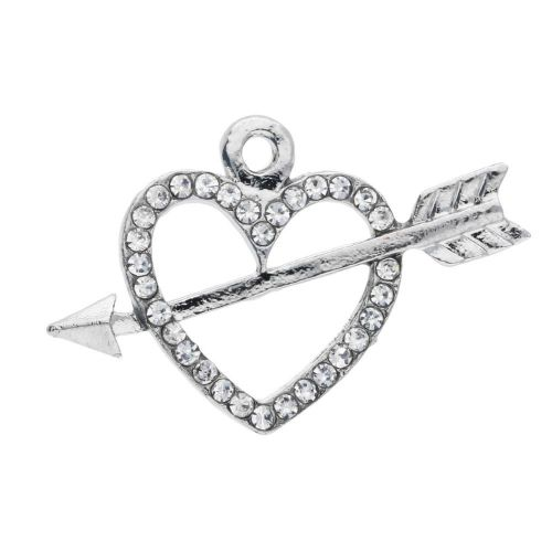 Glamm ™ Heart pierced with an arrow / charm pendant / with zircons / 15x23x2.5mm / silver plated / crystal / 1pcs