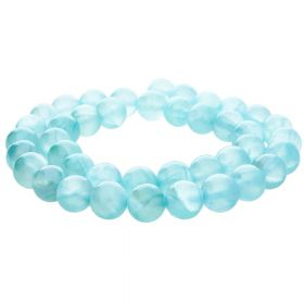 Jade transparent / round / 12mm / blue / 34pcs
