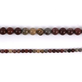 "Red Picture Jasper Round Semi Precious Beads 10mm 15"" Strand"