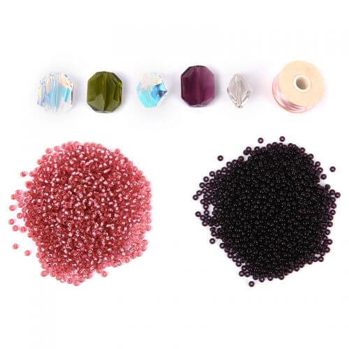 Beads Direct Seed Bead Cocktail Rings - Midnight Blush - Makes x5