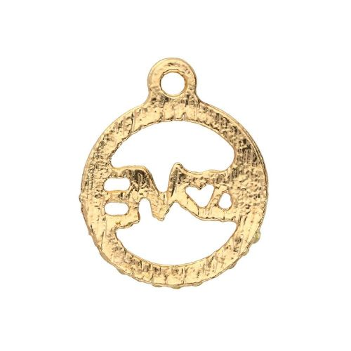 Glamm ™ LOVE / charm pendant / with zircons / 15x13x2mm / gold plated / 1pcs