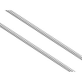 Snake chain / surgical steel / 1mm / silver / 1m