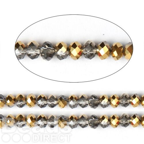 "X-Gold 1/2 Coated Essential Crystal Glass Faceted Rondelle Beads 4mm 16""Strand"