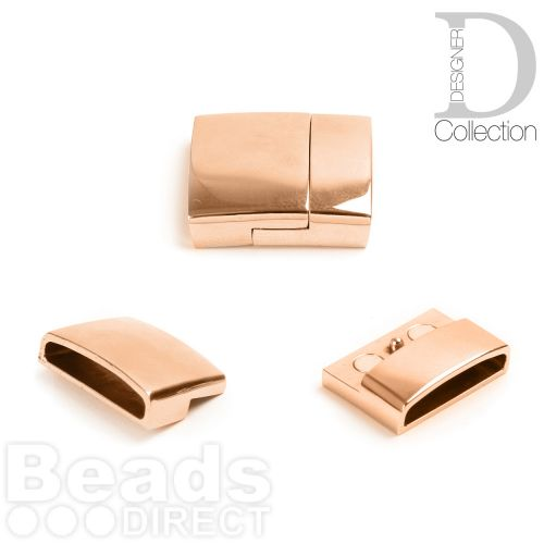 Rose Gold Plated Stainless Steel Magnetic Clasp 4x20mm 4x18mm Pk1