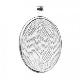 Silver Plated Oval Pendant Setting 30x40mm Pk1