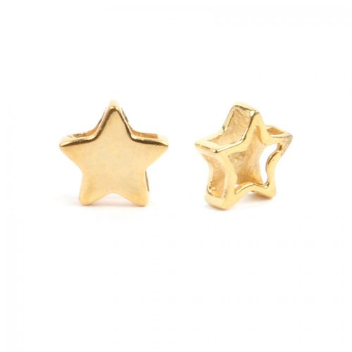 Gold Plated Sterling Silver 925 Small Star Bead Multi Hole 7mm Pk1
