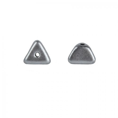 Preciosa Pressed Glass Triangle Beads Matte Silver 4x7mm Pk20