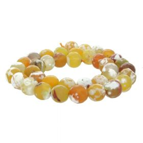Fire Agate / faceted round / 10mm / yellow / 38pcs