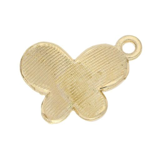 SweetCharm ™ Butterfly / charm pendant / 18x15x3mm  / gold plated / pink / 2pcs