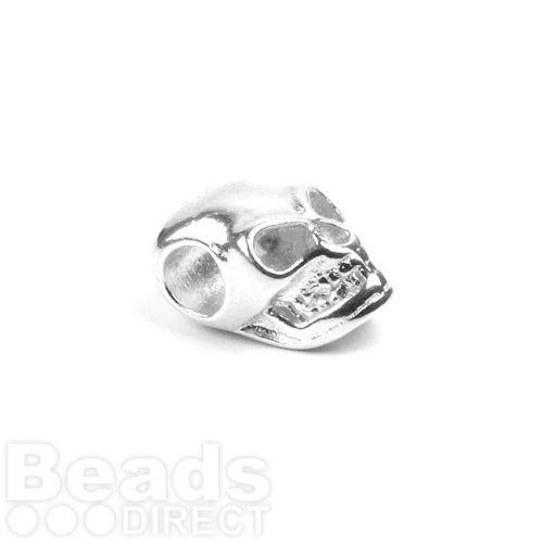 Sterling Silver 925 Skull Bead Side Hole 7x11mm Pk1