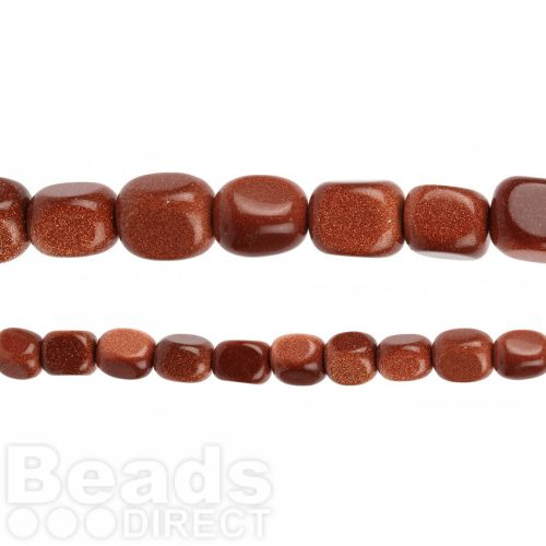 "Brown Goldstone Tumble Nugget Beads 11x14mm 16"" Strand"