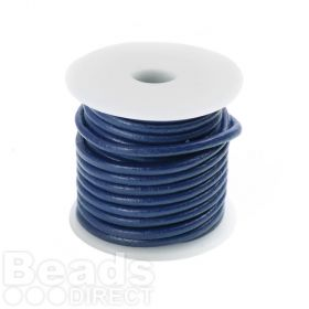 Electric Blue Round Leather 2mm Cord 5 Metre Reel