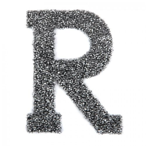 Swarovski Crystal Letter 'R' Self-Adhesive Fabric-It Black CAL Pk1