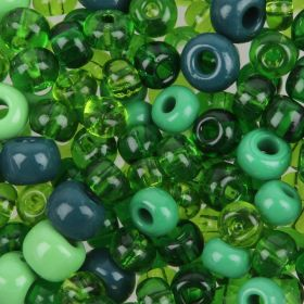 Preciosa Czech Glass Bead Mix Pony Style Green Tones 50g