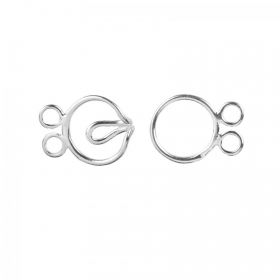 Sterling Silver 925 2 Strand Round Hook 10mm Clasp Pk1