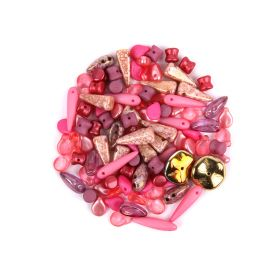 Preciosa Czech Glass Shape Beads Pink 20g