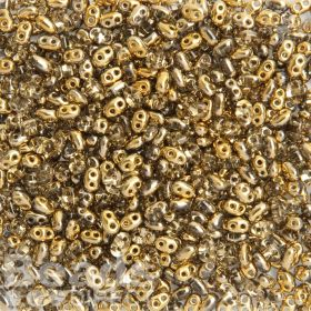 Preciosa Twin Hole Seed Beads Shiny Gold/Clear 2.5x5mm 10g