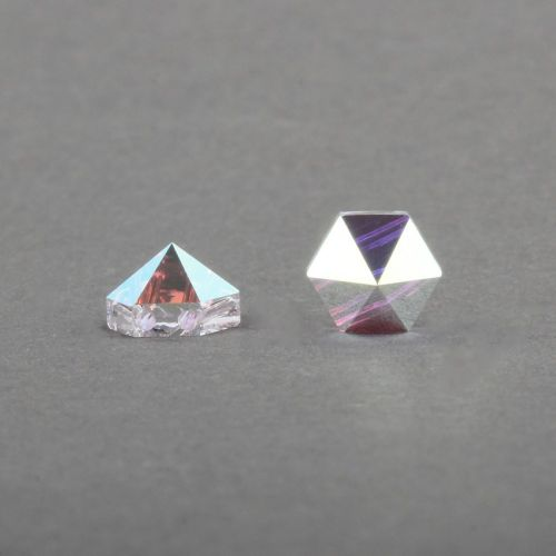 5060 Swarovski Hexagonal Spike Two Hole Bead 7.5mm Crystal AB Pk3