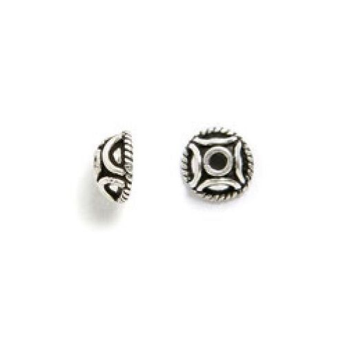 Silver Plated Dome Bead Cap 6mm Pk4